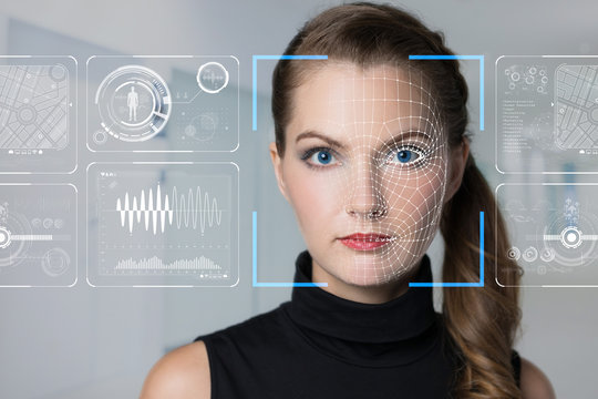 Facial Recognition System concept.