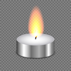 Candle tealight or tea light . burning flame fire