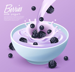 Yogurt Bowl with Cereals and variety of fruits : Vector Illustration