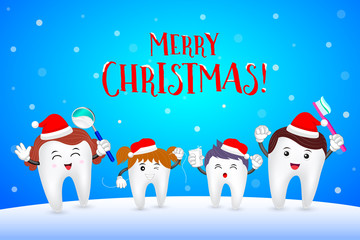 Cute cartoon tooth character in winter background. Santa claus ...