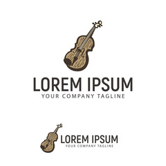 violin hand drawn logo design concept template