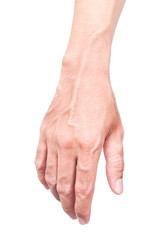 Man hand skin with blood veins on white background, health care and medical concept