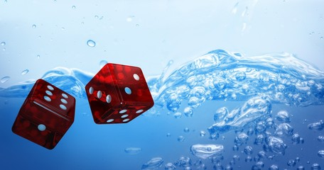 Composite image of digital composite 3d image of red dice