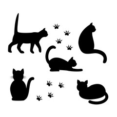 Black silhouettes of cats. Vector illustration.