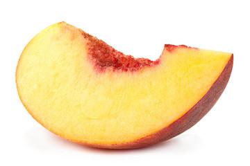 Peach fruit slice on white