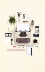 Top view retro typewriter office items cloud