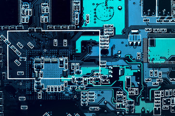 Dark background of the silhouette of the computer motherboard for the design of the company's IT site. Circuit board. Motherboard digital chip. Small frames with copy space.