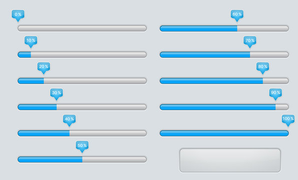 Gray slider bar with blue line. Control panel with volume settings