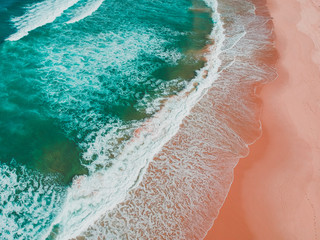 Aerial view of beach, Magenta, New South Wales, Australia