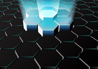 Perspective hexagonal background with blue lights