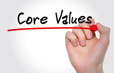 Hand writing inscription Core Values with marker, concept