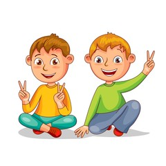 Two happy boys, best friends. Vector illustration in cartoon style