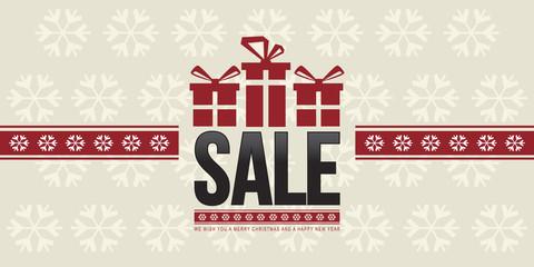 Christmas Horizontal Sale Banner. Vector Illustration. Flat Design..
