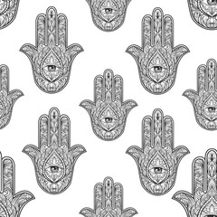 Hamsa hand seamless pattern, vector illustration. Hand drawn symbol of protection for adult anti stress coloring book, page in zentangle style. Blackwork yoga tattoo design