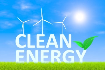 Clean energy technologies green grass landscape background 3d illustration
