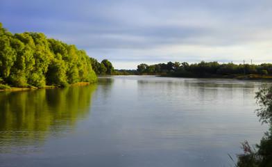 Beautiful autumn landscape in the Volga delta. Astrakhan Region. Russia.