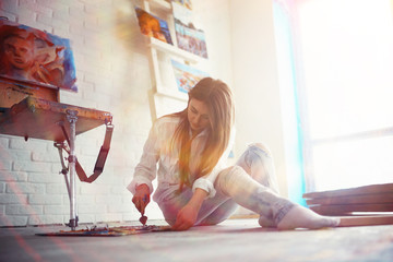 Search for inspiration, muse artist girl paint