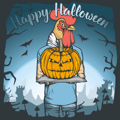 Vector illustration of Halloween rooster concept