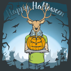 Vector illustration of Halloween deer concept
