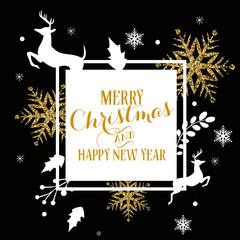 Christmas Banner, Ornaments, Glitter, Gold
