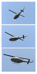 black helicopter against clear blue sky