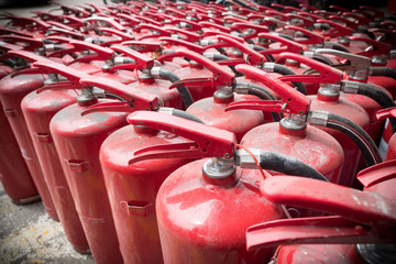 A lot of old fire extinguishers.