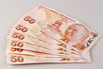 Turkish 50 Lira banknotes are seen in this picture illustration