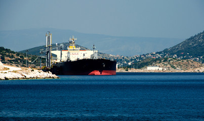 Large greek gas tanker at dock