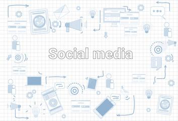 Social Media Communication Concept Internet Network Connection Banner Over Squared Background Vector Illustration