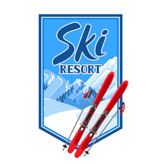 Winter background with skiing equipment. Snowy mountains and fir forest