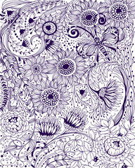 Hand drawn illustration made of various flowers and plants and beautiful doodle butterfly