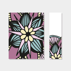 Planner cover and bookmark in vector. For print, school and home education