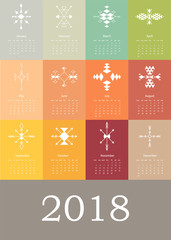 Calendar 2018 with aztec pattern in vector