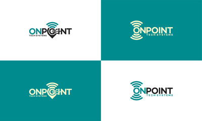 map pointer and wifi logo combination. GPS locator and signal symbol Wall mural