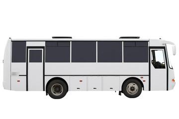 Compact white bus.