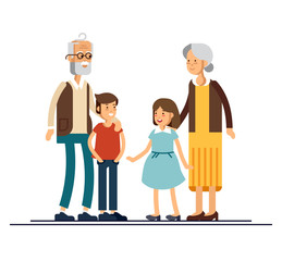 Grandparents with grandchildren vector flat design illustration. Relatives standing together. Grandmother, grandfather and siblings.