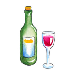 Wine bottle and glass by watercolors on white background. Wine drinking handdrawn illustration.