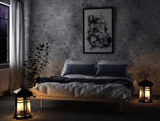 Schlafzimmer mit Laternen
