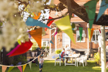 Colorful bunting in garden