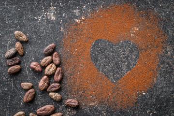 Heart shape made from cocoa powder.