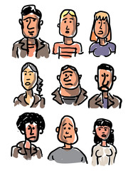 Vector illustration of sketch faces