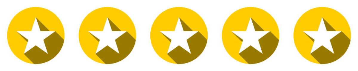 Five stars customer product rating review flat icon for apps and websites - notation sur cinq étoile pour sites web et applications