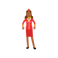 Beautiful stewardess in red uniform, flight attendant on airplane vector Illustration