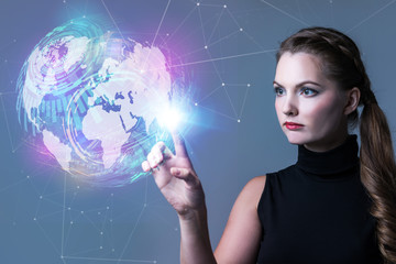 Futuristic woman and global network concept. Abstract mixed media.