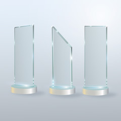 Circle Glass Trophy Award. Vector illustration isolated on grey background