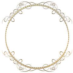 メタリックの質感のオーナメント|円形 ゴールド|Baroque ornaments of metallic texture