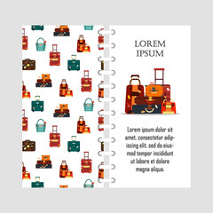 Vector template travel bags isolated on white background. Cover for print with business voyage packing, handle trip baggage. Summer time. Handbag and luggage for adventure