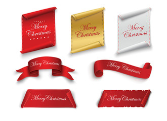 Red realistic detailed curved paper Merry Christmas banner isolated on white background. Vector illustration.
