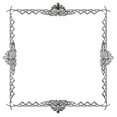メタリックの質感のオーナメント|四角形 シルバー|Baroque ornaments of metallic texture