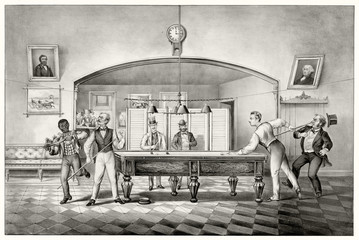 Old illustration of a billiard club. By unidentified author, publ. in New York ca. 1869